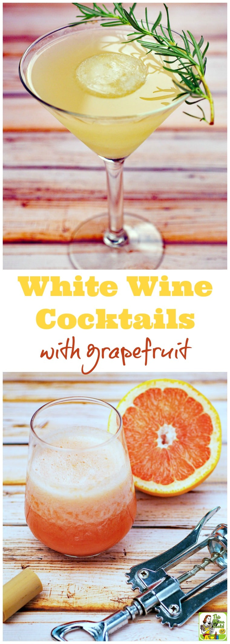 Two white wine cocktail recipes made with grapefruit. The Frozen Wine Cocktails recipe features whole pieces of frozen grapefruit. The Skinny White Wine Cocktails recipe is lightened up with grapefruit seltzer. Both are sweetened with no calorie stevia. Click to get these no guilt cocktails that are perfect for Mother\'s Day brunches, summer BBQs, or girls night in parties.