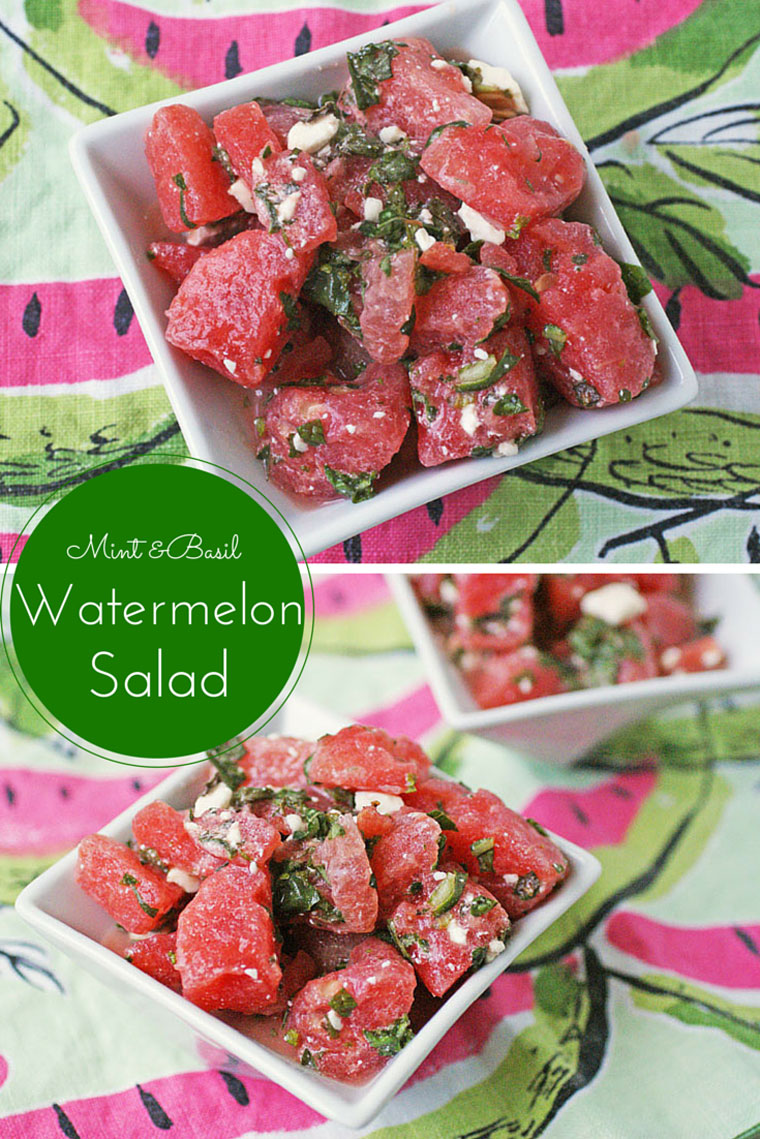 Mint & Basil Waternelon Salad with Feta. Get the recipe for this healthy summer time party salad at This Mama Cooks! On a Diet