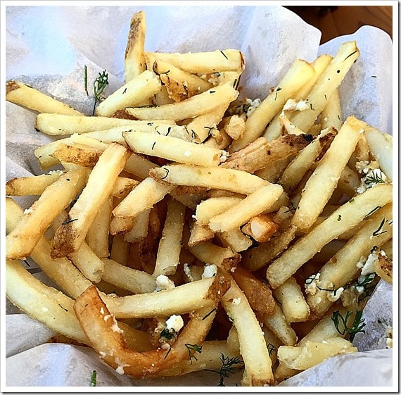 Dill & Cheese Fries from Crush & Brew in Temecula, California. Click to get more travel tips on Old Town Temecula Valley California.