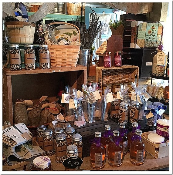 Some of the items for sale at the locally sourced Temecula Lavender Company. Click to get more travel tips on Old Town Temecula Valley California.