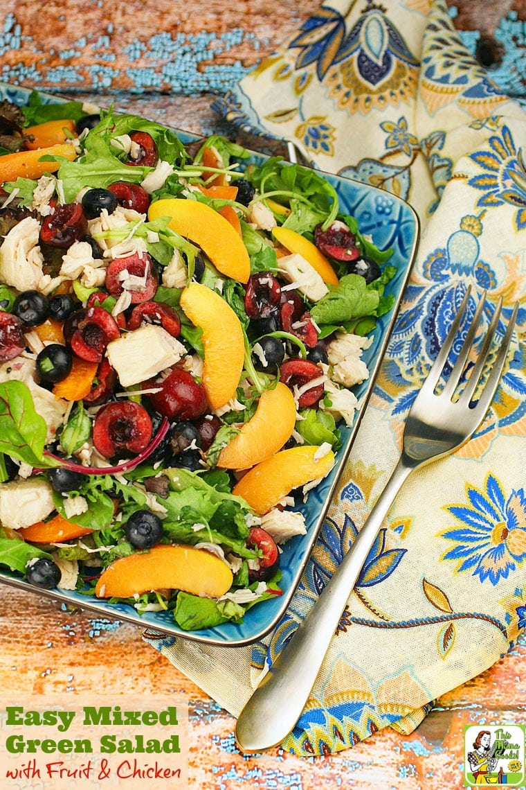 This Easy Mixed Green Salad with Fruit & Chicken recipe makes a satisfying weeknight meal. Click to get this healthy salad recipe that takes under 20 minutes to make, is easy to prepare, and uses seasonal fruits and vegetables.