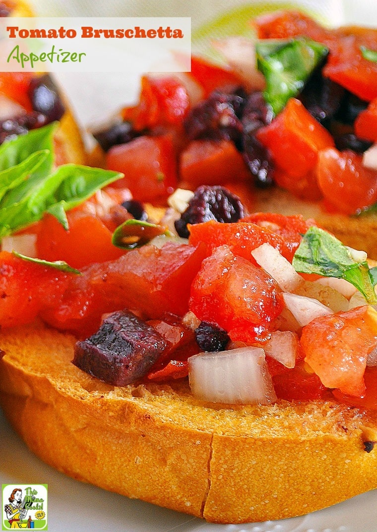 Need a delicious and healthy appetizer recipe for your next party? Try this easy tomato bruschetta appetizer recipe! Comes with a gluten free option.