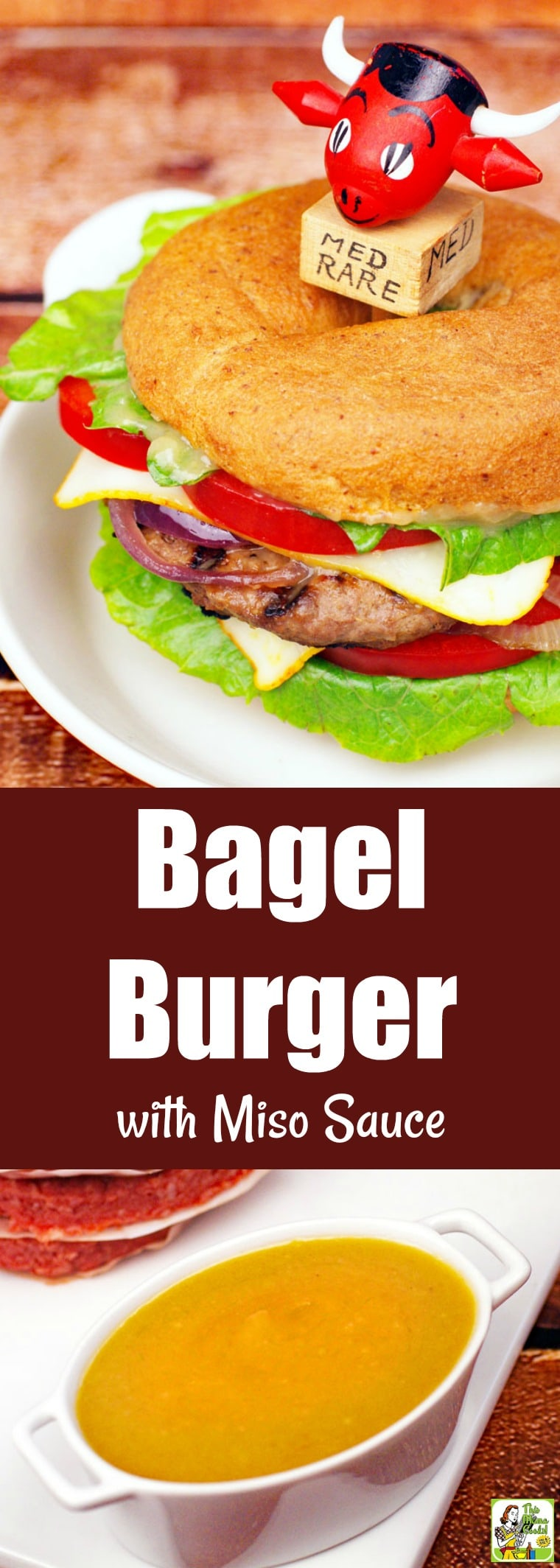 This Bagel Burger with Miso Sauce is for anyone who loves grilling gourmet burgers at home. This gluten-free burger is slathered in miso sauce and served on a gluten-free bagel. #recipes #easy #recipeoftheday #glutenfree #easyrecipe #easyrecipes #glutenfreerecipes #grill #grilling #grillrecipes #grillingrecipes #burger #hamburger #miso