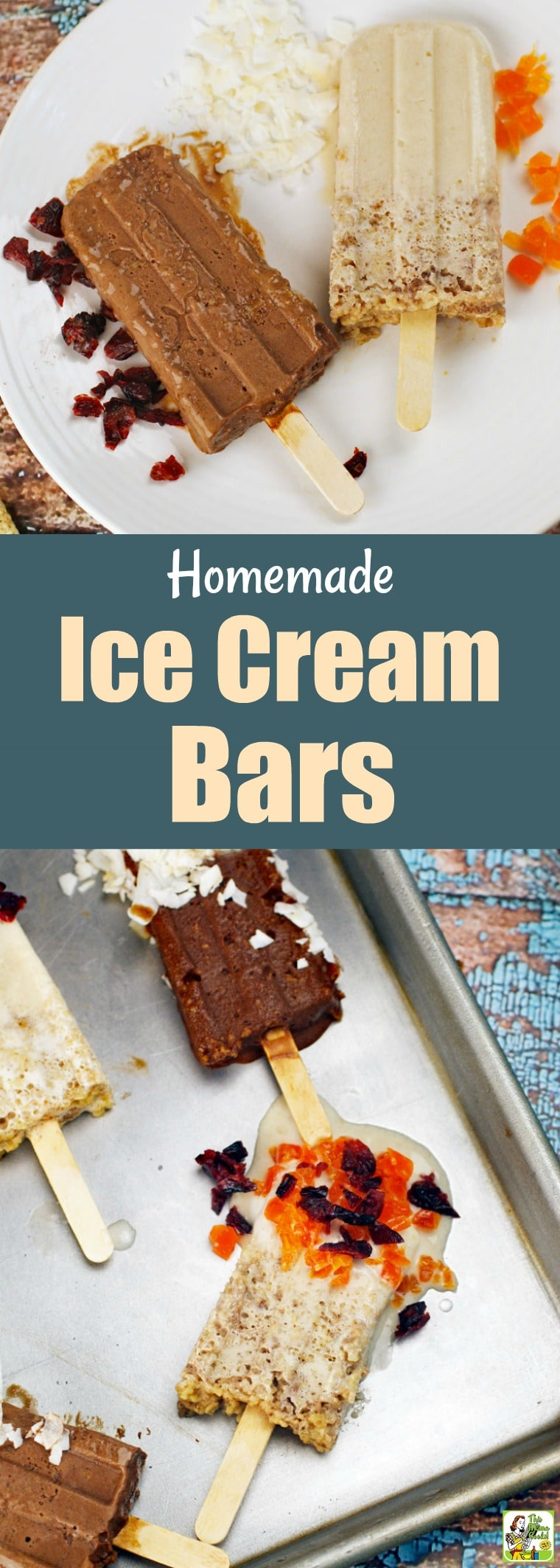 How about making some Homemade Ice Cream Bars for snack time? They're the perfect ice cream dessert recipe to make with the kids! Can be made gluten free, dairy free, vegan, and guilt free depending on what ice cream and ingredients you choose to use. Directions tell you how to use popsicle molds or mini-paper cups and craft sticks. #recipes #easy #recipeoftheday #glutenfree #easyrecipe #easyrecipes #glutenfreerecipes #snacks #desserts #dessertrecipes #dessertideas #veganfood #vegan #vegan...