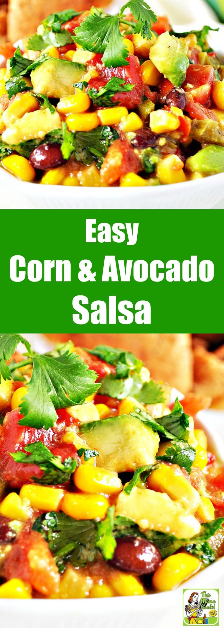 This Super Easy Corn & Avocado Salsa is a terrific snack for parties. With only four ingredients, this simple, but super easy salsa dip recipe requires you to just open a few jars and add an avocado. #snacks #lowcaloriesnacks #salsa #avocado #recipes #easy #recipeoftheday #glutenfree #easyrecipe #easyrecipes #glutenfreerecipes