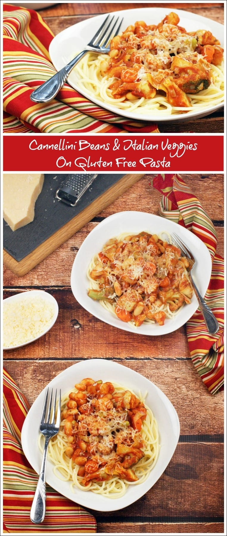 Looking for an easy pasta recipe to make for dinner in 20 minutes or less? Try this Cannellini Beans & Italian Veggies on Gluten Free Pasta. Get this gluten free recipe at This Mama Cooks! On a Diet