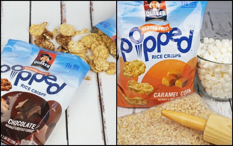Make Caramel & Chocolate Rice Crispie Treats with Glutem Free Quaker Popped Rice Crisps! Get this quick and easy dessert recipe at This Mama Cooks! On a Diet