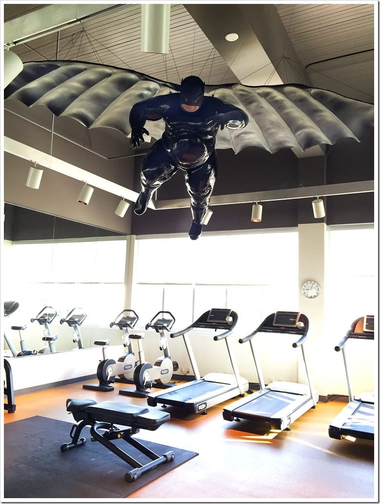 The fat Batman in the workout room at the 21c Museum Hotel in Bentonville, Arkansas. Learn more about my trip to Northwest Arkansas at This Mama Cooks! On a Diet
