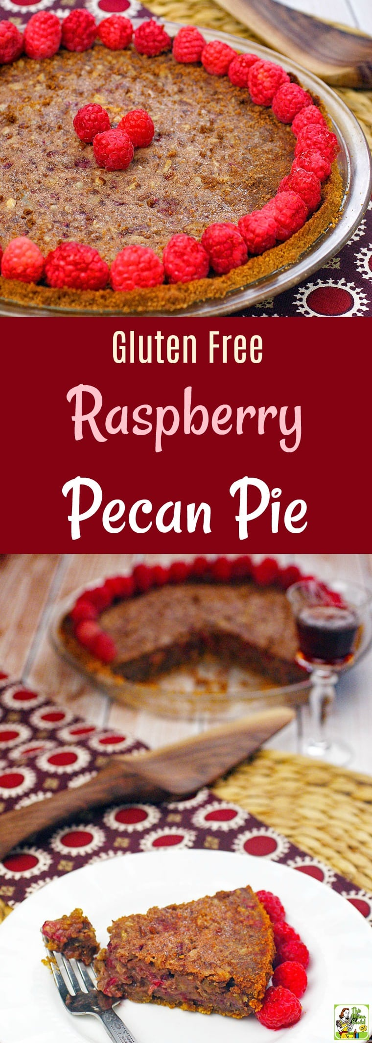Looking for a unique recipe for pecan pie for Thanksgiving? Try this easy pecan pie recipe with raspberries! This Gluten Free Raspberry Pecan Pie can be made a day in advance. Comes with directions for making a gluten-free pie crust from gluten-free cookies. #pie #pi #Thanksgiving #pecan #pecans #raspberries #dessert #glutenfreedessert #glutenfreecrust #baking #piecrust #easypierecipe #easypiecrust #recipe #easy #recipeoftheday #healthyrecipes #glutenfree #easyrecipes