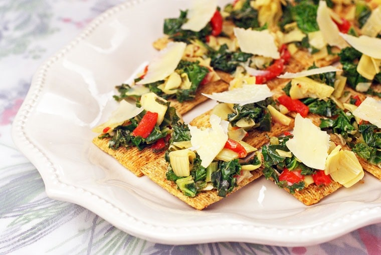 Artichoke & Kale Bruschetta Toppers - Get this easy holiday appetizer recipe at This Mama Cooks! On a Diet