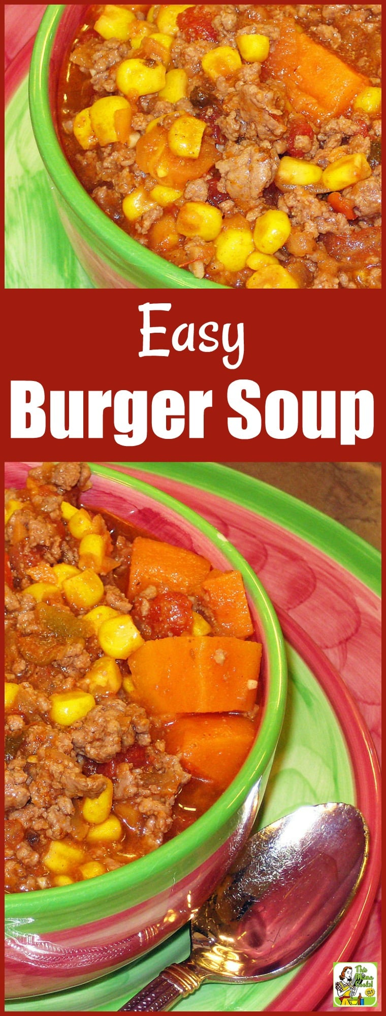 This Easy Burger Soup is perfect for those dreary cold days when you don't have much time to make dinner. Double the recipe and freeze half for another night. Or double and keep warm in a slow cooker for entertaining. #soup #recipes #easy #recipeoftheday #glutenfree #easyrecipe #easyrecipes #glutenfreerecipes #dinner #easydinner #dinnerrecipes #dinnerideas