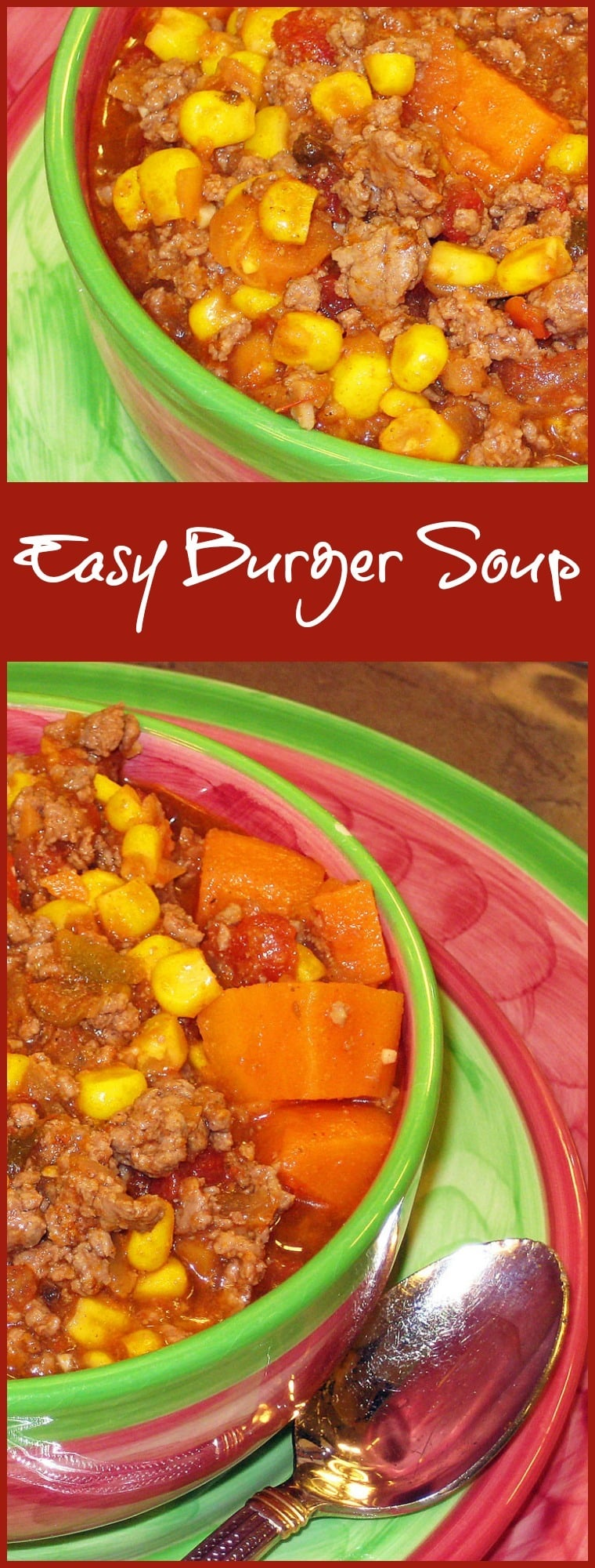 Get this gluten free Easy Burger Soup recipe at This Mama Cooks! On a Diet. It's perfect for cold nights and for serving in your slow cooker at parties and pot lucks!