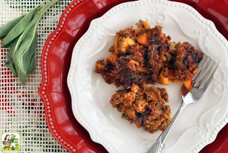 Gluten Free Cornbread Stuffing with Chorizo, Squash & Apples