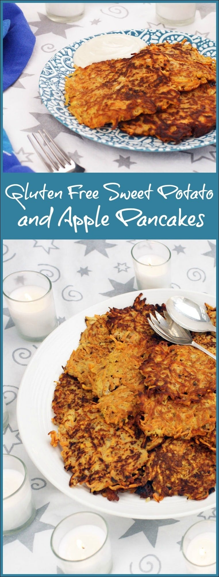 Looking for a gluten free sweet potato pancake? Try these Gluten Free Sweet Potato and Apple Pancakes! Get the gluten free pancake recipe at This Mama Cooks! On a Diet