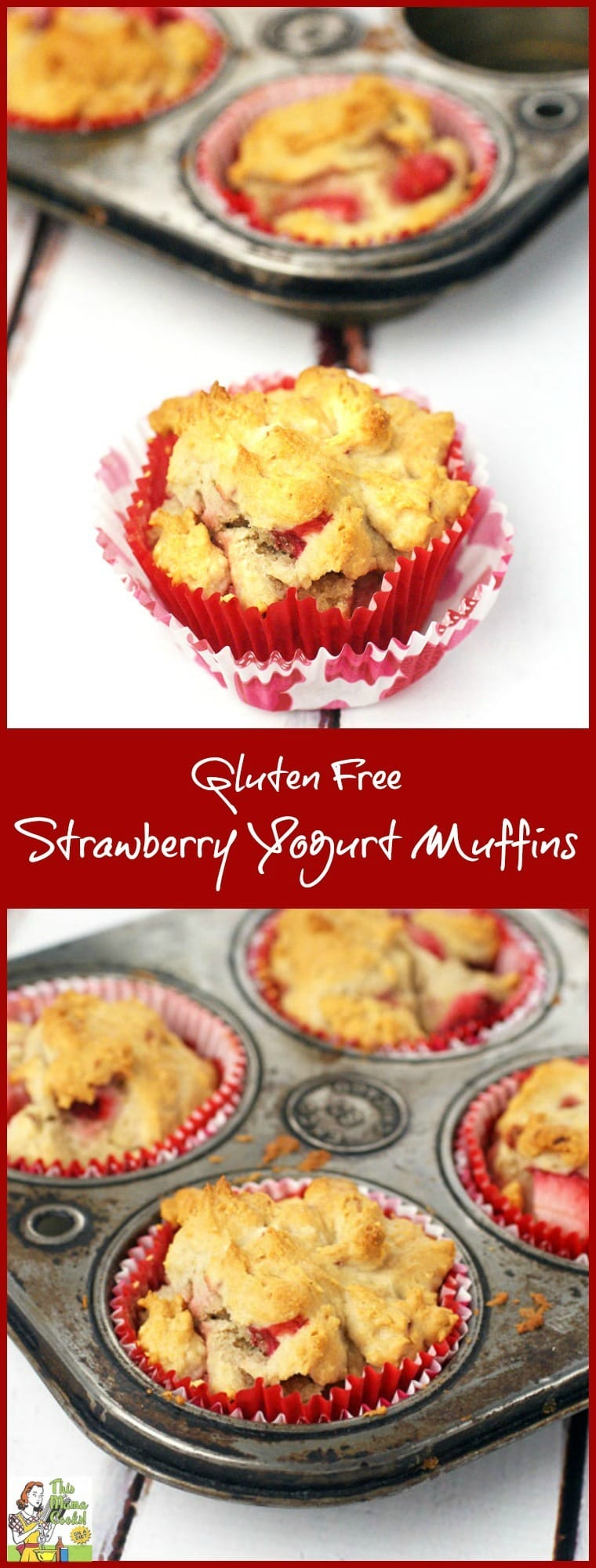 Are you looking for an easy gluten free muffin recipe? Try this one made with strawberry yogurt and your favorite gluten free all purpose baking mix! Gluten Free Strawberry Yogurt Muffins can be made with frozen or fresh strawberries. Serve them for a gluten free breakfast, brunch or snack treat!