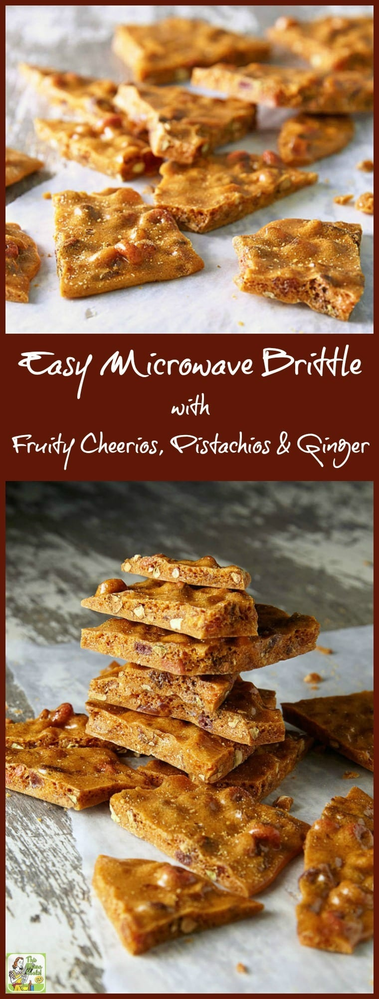 How to make Easy Microwave Brittle. Make Easy Microwave Brittle as a homemade holiday gift. This microwave brittle recipe is also terrific to use for Christmas cookie exchanges. Microwave brittle recipes take the hassle out of brittle making! This unique brittle recipe contains gluten free Fruity Cheerios, pistachios, candied ginger, cinnamon, and grated some orange peel.  #candy #holiday #Christmas #homemadegifts #cookieexchange  #cookieswap #glutenfree #brittle #pistachios #ginger
