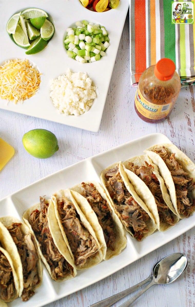 Make pulled pork tacos for family taco night. How do you serve your shredded pork tacos?