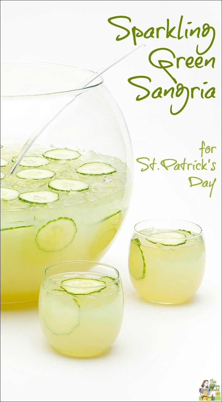 Sparkling Green Sangria for St. Patrick's Day. Try this refreshing gluten free green cocktail recipe as an alternative to green beer! Your party guests will love this green St. Patrick's Day drink recipe! #stpatricksday #green #drinking #drinks #drinksrecipe #cocktails #sangria #skinnyrecipes #healthydrinks #healthydrinksrecipe #glutenfree