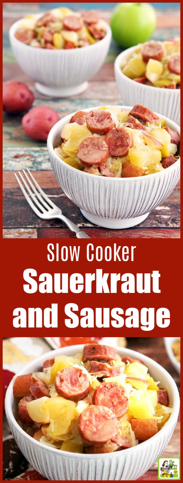 Looking for a gluten free Crock-Pot recipe? This Slow Cooker Sauerkraut and Sausage with Apples and Potatoes takes only 15 minutes to prepare! Makes a great party or potluck recipe, too. #slowcooker #crockpot #glutenfree #glutenfreerecipes #dinner #easydinner #recipe #sausage #apples #potatoes