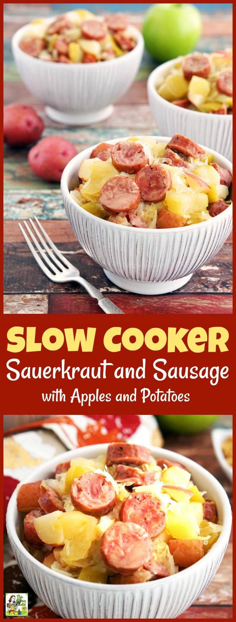 Are you looking for a gluten free Crock-Pot recipe? This Slow Cooker Sauerkraut and Sausage with Apples and Potatoes takes only 15 minutes to prepare! Makes a great party or potluck recipe, too. #recipe #easy #recipeoftheday #healthyrecipes #glutenfree #easyrecipes #dinner #easydinner #sausage #sauerkraut #apples #potatoes #slowcooker #crockpot
