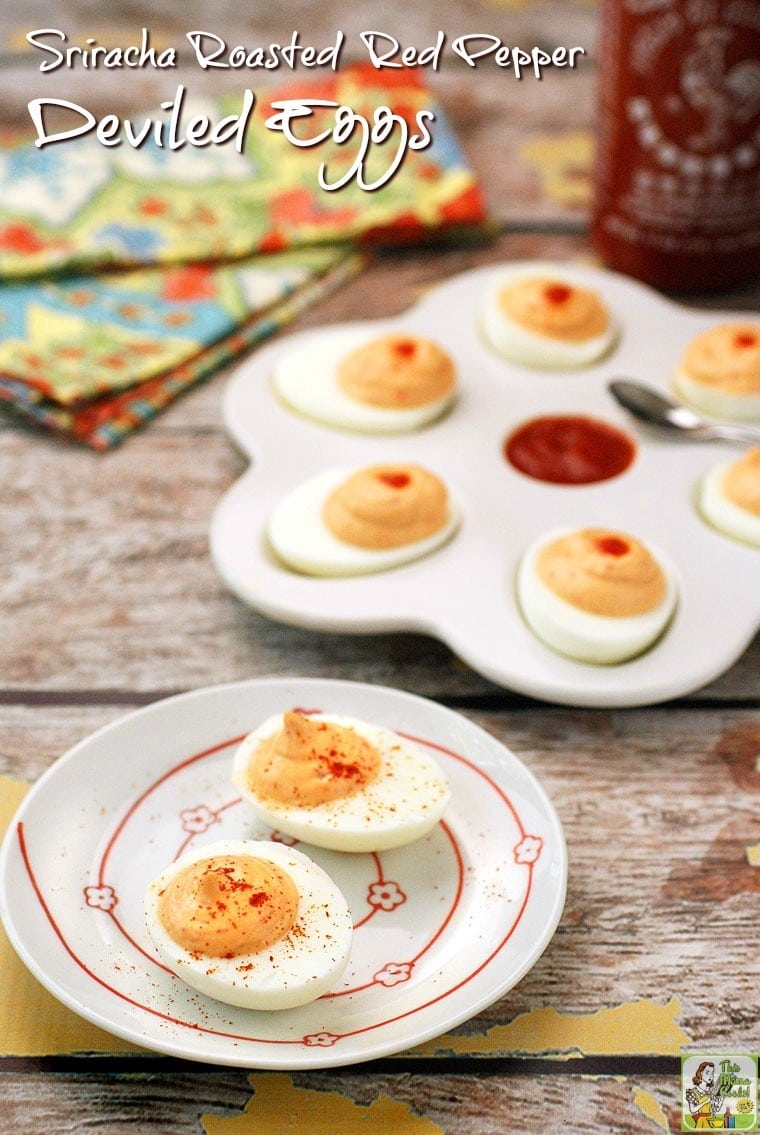 Got hardboiled eggs? Try these Sriracha Roasted Red Pepper Deviled Eggs. This naturally gluten free appetizer is ideal for parties or to bring to potlucks.