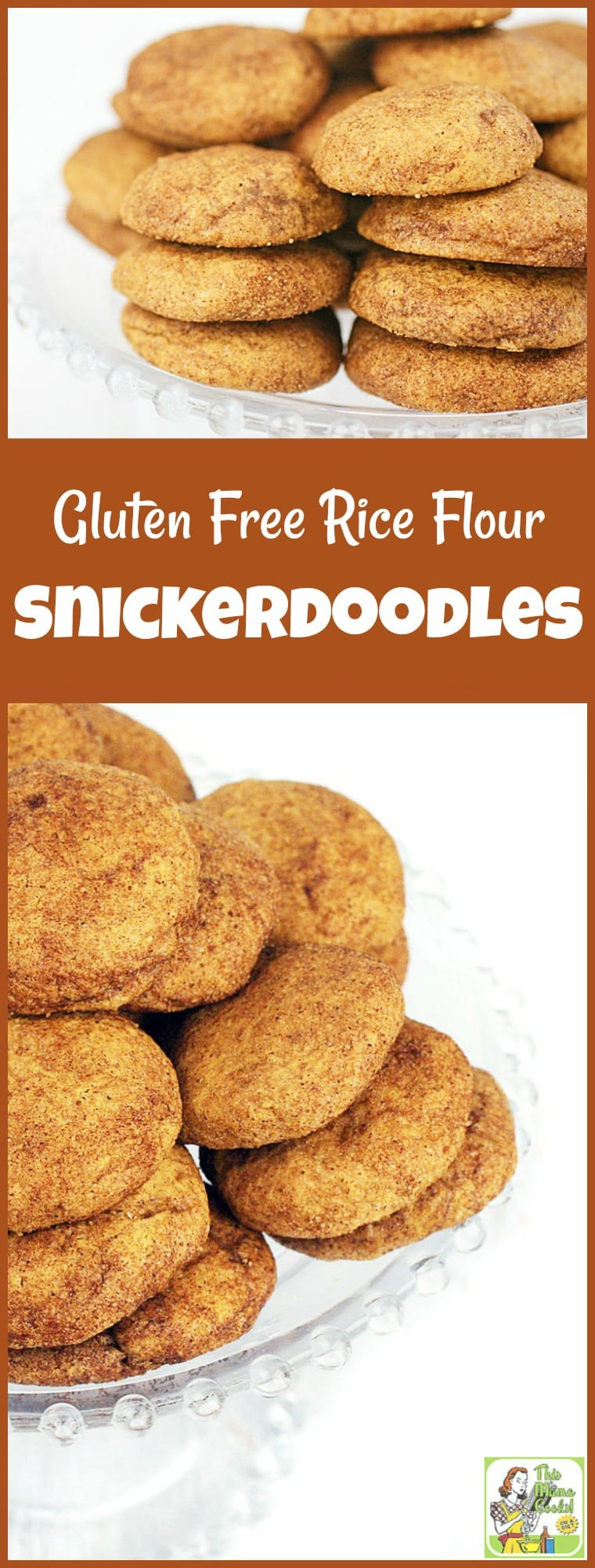 Looking for a gluten-free cookie recipe? Try this easy to make Gluten Free Rice Flour Snickerdoodles cookie recipe. Snickerdoodle cookies are ideal for a cookie exchange, a holiday cookie swap or homemade gifts. #recipe #easy #recipeoftheday #healthyrecipes #glutenfree #easyrecipes #baking #cookies #cookieexchange #cookieswap #desserts #dessertrecipes #dairyfree