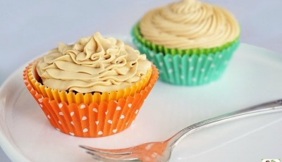 Gluten Free Espresso Brownie Cupcakes with Dulce de Leche Frosting