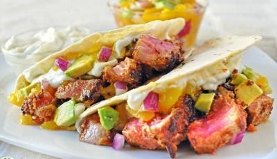 Ahi Tuna Tacos with Wasabi Cream and Mango Avocado Salsa