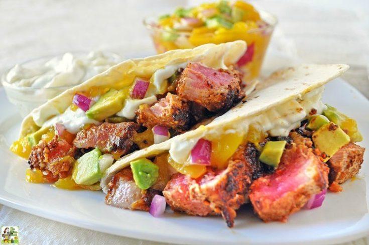 Ahi Tuna Tacos Recipe with Wasabi Cream and Mango Avocado Salsa