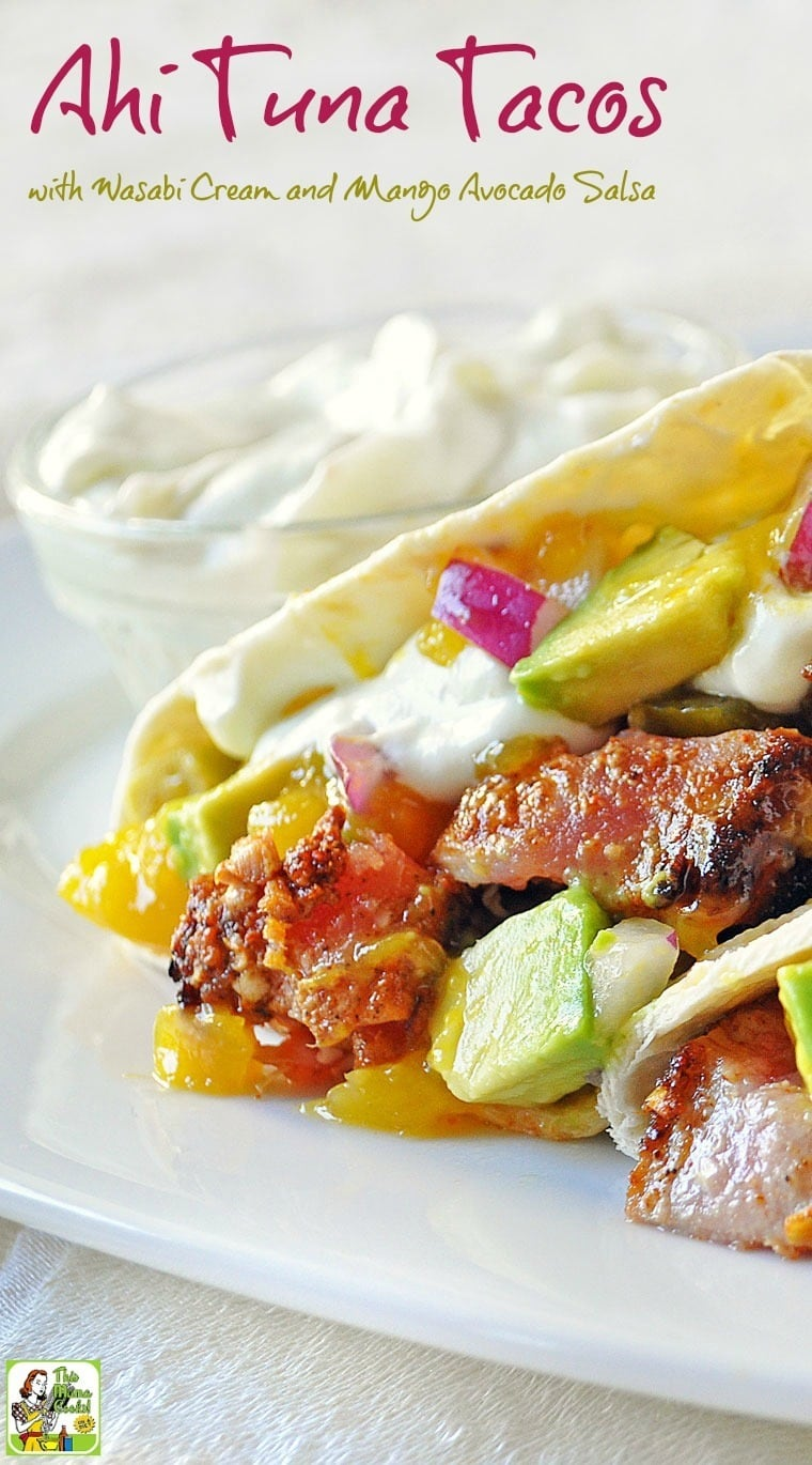 If you love fish tacos, you'll enjoy this healthy Ahi Tuna Tacos with Wasabi Cream and Mango Avocado Salsa recipe. #recipes #easy #recipeoftheday #healthyrecipes #glutenfree #easyrecipes #fishtacos #fishrecipes #tacos #tacorecipes #tacotuesday