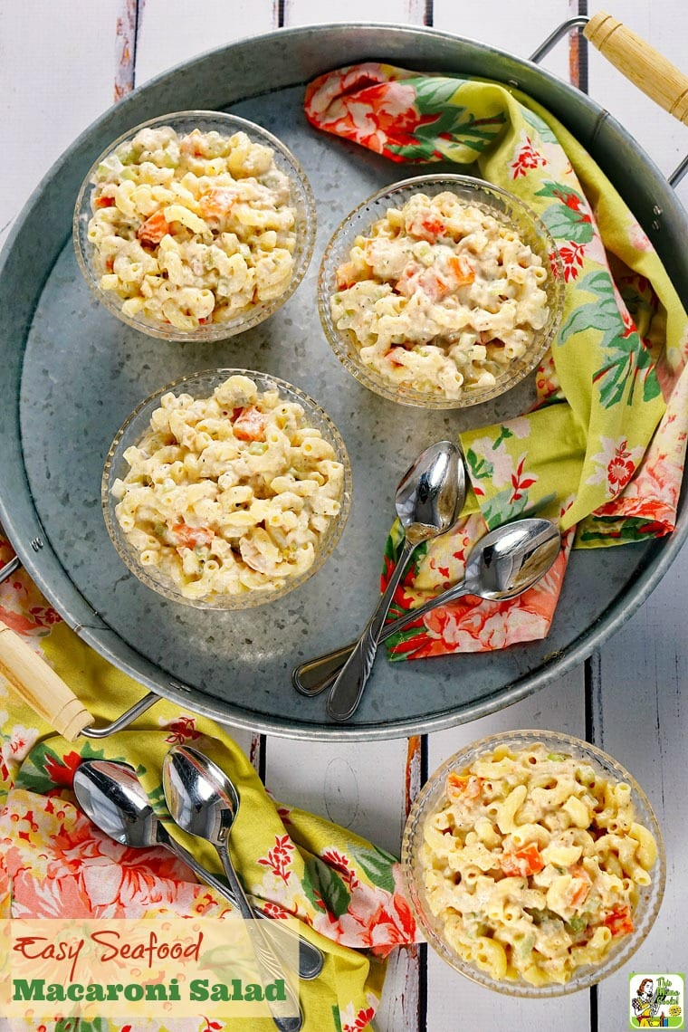 The perfect Easy Seafood Macaroni Salad recipe for your next BBQ or picnic. Click to get this easy pasta salad recipe. Can be made with gluten free or whole wheat macaroni.