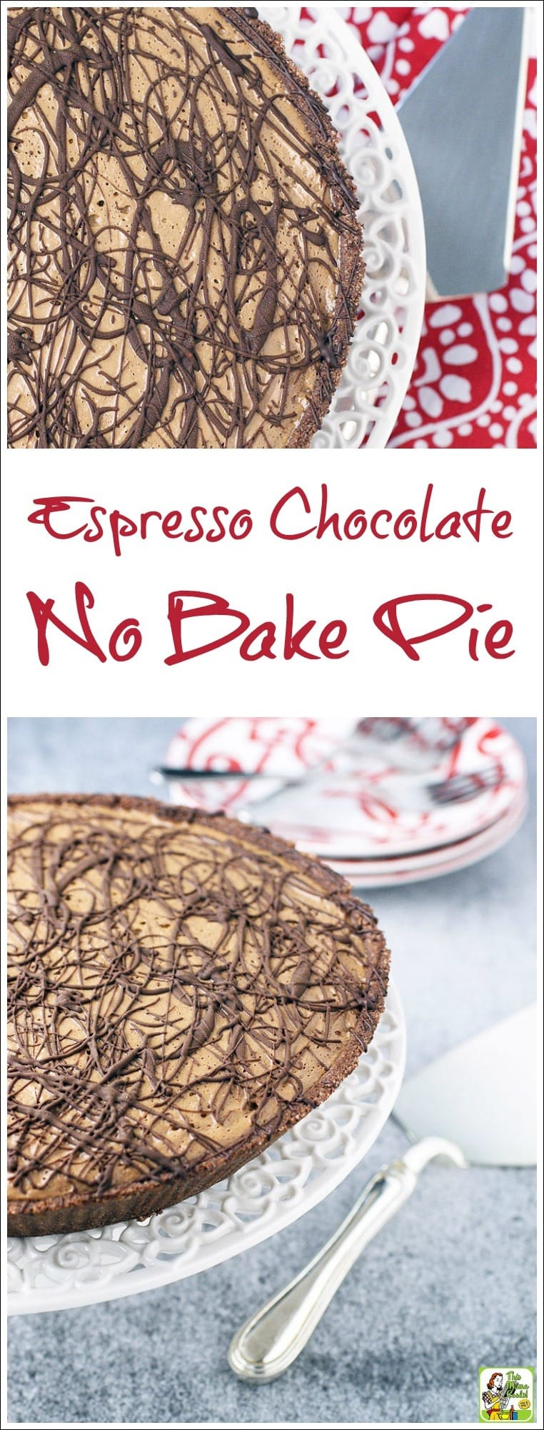 Make this quick and easy Espresso Chocolate No Bake Pie recipe. This yummy no bake dessert uses silken tofu and chocolate soymilk instead of ice cream and cow's milk. So not only will your vegan and vegetarian friends ask for the recipe, but so will anyone who can't tolerate dairy products. #baking #pie #dairyfree #veganfood #vegan #veganrecipes #vegandesserts #glutenfree #recipe #recipes #coffee #chocolate #tofu