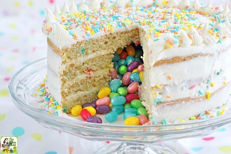 This Gluten Free Surprise Inside Jelly Bean Cake recipe is easier to make than you think since it's made from Pillsbury gluten free cake mix and frosting!