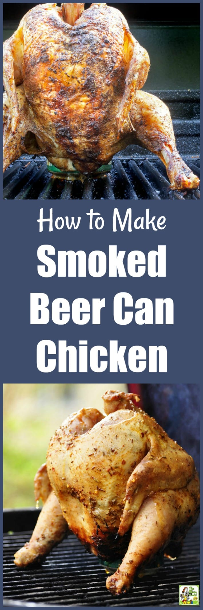 Get that smoker going because making smoked beer can chicken is easier than you think! Just use a can of beer (or juice),  bottled marinade, and some store-bought barbeque rub. Tastes great and worth the effort! #chicken #recipes #easy #recipeoftheday #glutenfree #easyrecipe #glutenfreerecipes #dinner #easydinner #dinnerrecipes #dinnerideas #chicken #chickenfoodrecipes #chickenrecipes #grill #grilling #grillrecipes #grillingrecipes