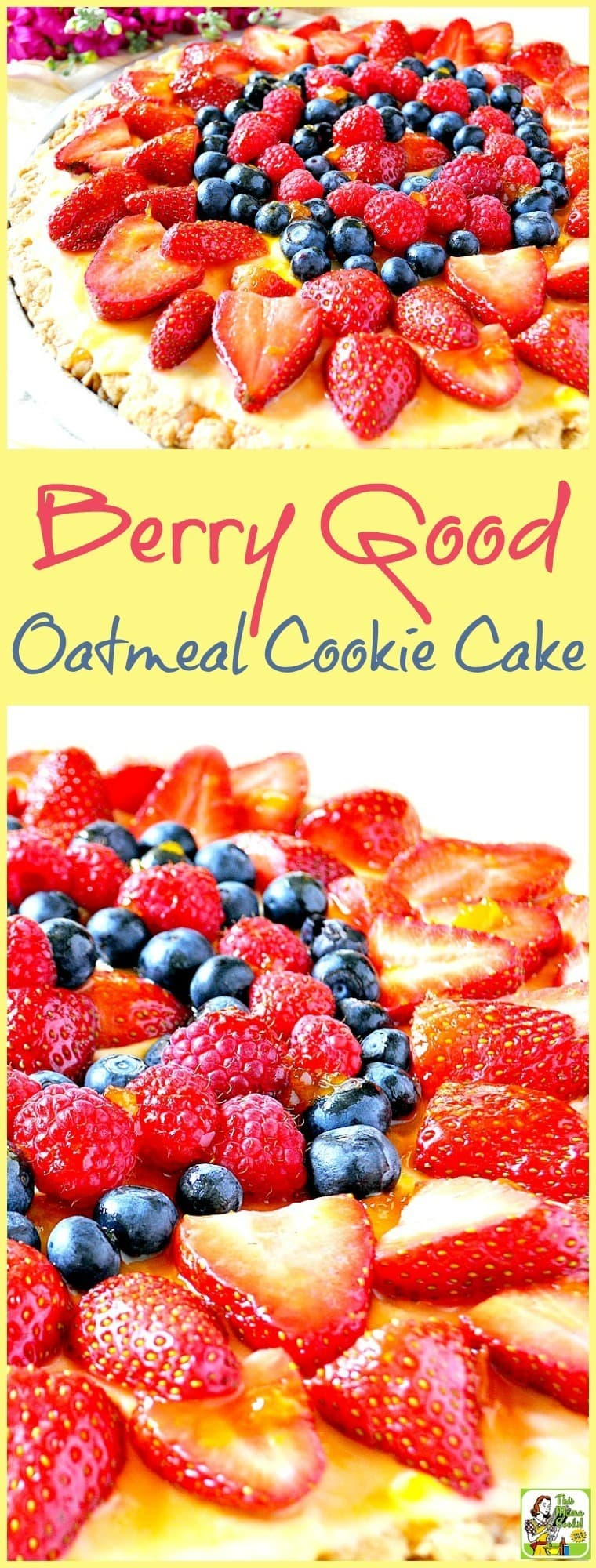 Make Berry Good Oatmeal Cookie Cake for holidays and backyard parties. Made with slices of fruits like kiwi, star fruit, peaches, blackberries, banana, and pineapple placed on a giant oatmeal cookie. #recipes #easy #recipeoftheday #healthyrecipes #glutenfree #easyrecipes #cookies #cookierecipes #baking #fruit #oatmeal #oatmealcookies #berries #desserts #dessertrecipes #dessertideas