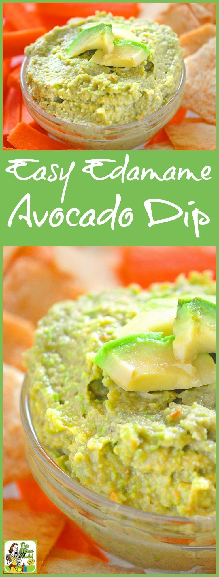 Looking for a healthy dip recipe for your party? Try this quick and Edamame Avocado Dip recipe! It\'s naturally gluten free and can be made in just a few minutes! #recipes #easy #recipeoftheday #glutenfree #easyrecipe #easyrecipes #glutenfreerecipes #partyfood #appetizers #appetizerseasy #avocado #edamame