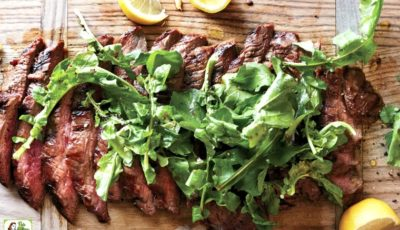 Grilled Soy-Lemon Flank Steak with Arugula