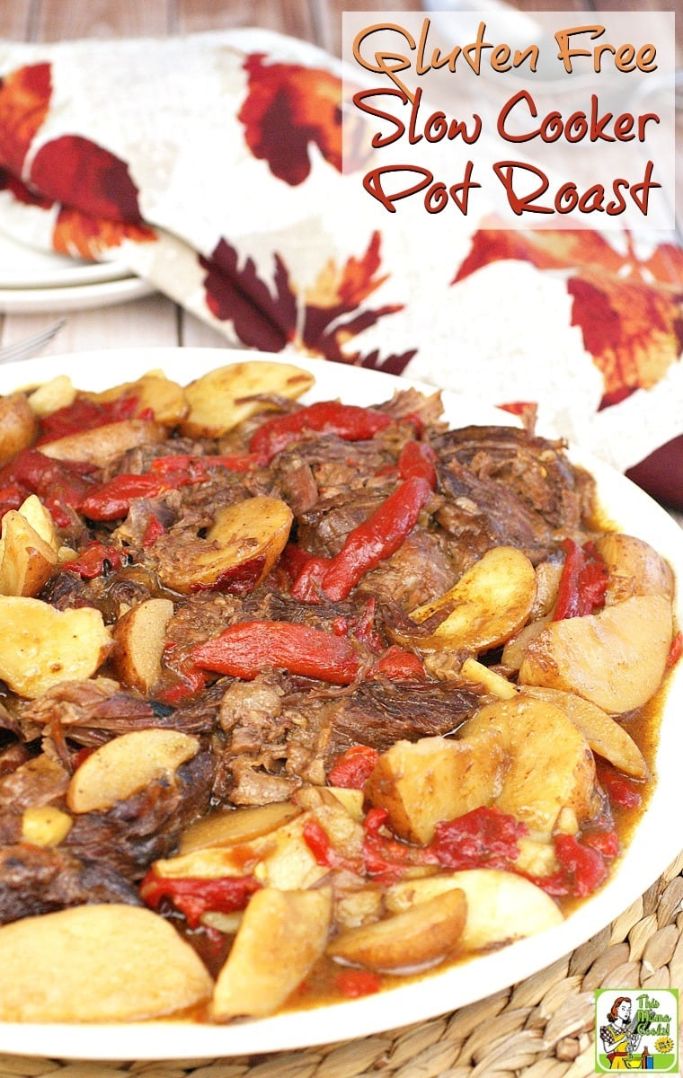 Love Mississippi Pot Roast but not the gluten and dairy? Then try this Gluten Free Slow Cooker Pot Roast recipe! It's the perfect weeknight recipe when you're too busy or it's too hot to cook! It even comes with its own side dish. Talk about one pot cooking!