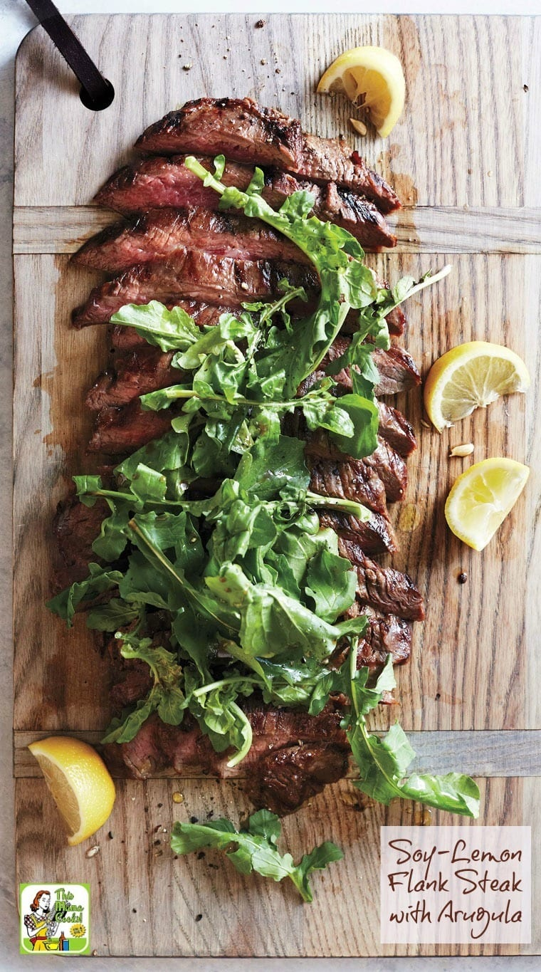If it's grilling season by you, then you have to make this delicious and easy to make Soy-Lemon Flank Steak with Arugula recipe. Super simple to make in the morning before work or when you get home before dinner. Use as a weeknight dinner recipe or triple for the perfect backyard barbecue grilling recipe!