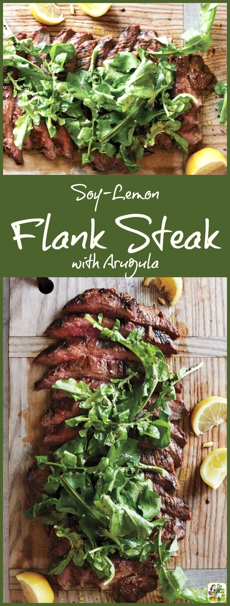 Love to grill? Then you\'ll enjoy making this easy Soy-Lemon Flank Steak with Arugula recipe. Super simple preparation. Easy enough to make in the morning before work or when you get home before dinner. Use as a weeknight dinner recipe or triple for the perfect backyard barbecue grilling recipe!