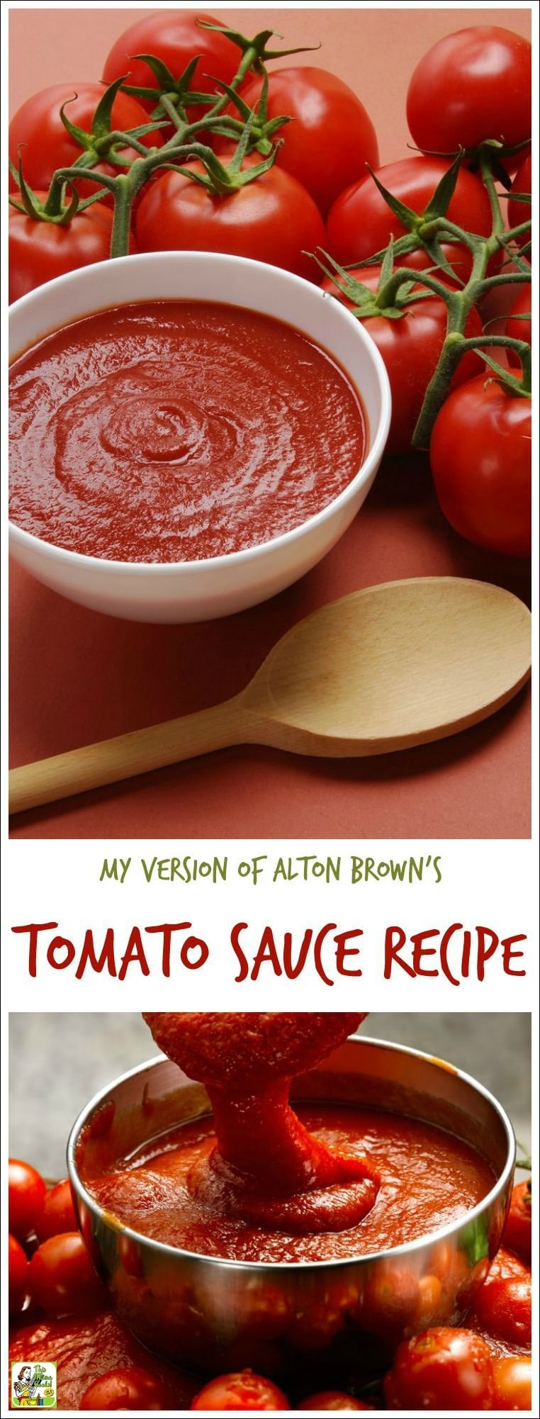 Looking for an easy homemade tomato sauce recipe? Or want to make easy fresh tomato pasta sauce from scratch? Here\'s my version of Alton Brown\'s tomato sauce recipe. Double the recipe and freeze half and you\'ll have spaghetti sauce in the freezer ready to go for dinner later! #recipe #easy #recipeoftheday #healthyrecipes #glutenfree #dinner #spaghetti #sauce #tomato #sauce #easyrecipes