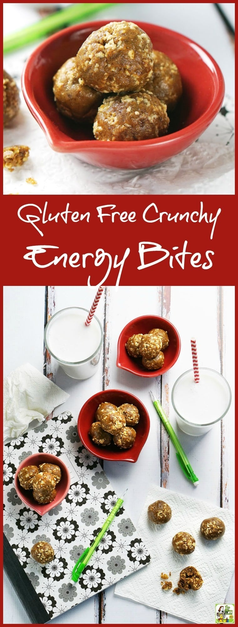 If you\'re looking for an allergy-free snack recipe, try these Gluten Free Crunchy Energy Bites! Kids love them and moms love serving them. They\'re super easy to make, too. Perfect for breakfast on the go, pack them in your lunch back, or take them to after-school activities for a quick, healthy snack. Make up a double batch and freeze so you always have some healthy no-cook energy bites on hand to take to with you when you\'re on the go!