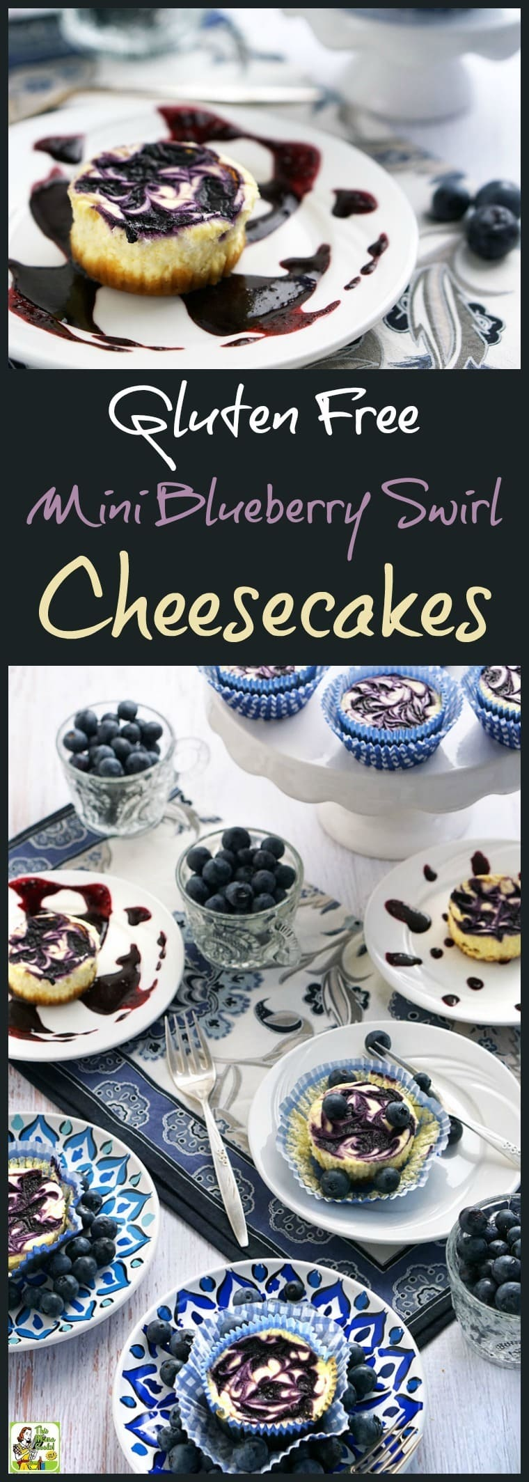 Looking for a gluten free dessert recipe that's also low in sugar and fat. Try this easy to make Gluten Free Mini Blueberry Swirl Cheesecakes recipe! It's a guilt free dessert recipe because these mini cheesecake cupcakes are made with non-fat Greek yogurt, low fat cream cheese, blueberries, and monk fruit natural sweetener.  It's the ideal gluten free dessert for summer parties!