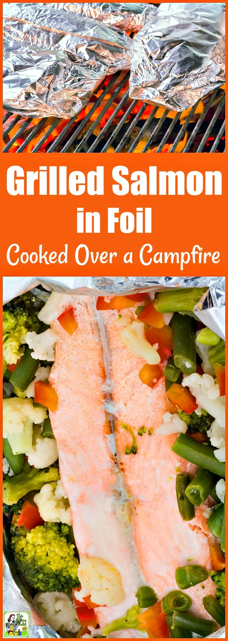Grilled Salmon in Foil cooked over a campfire