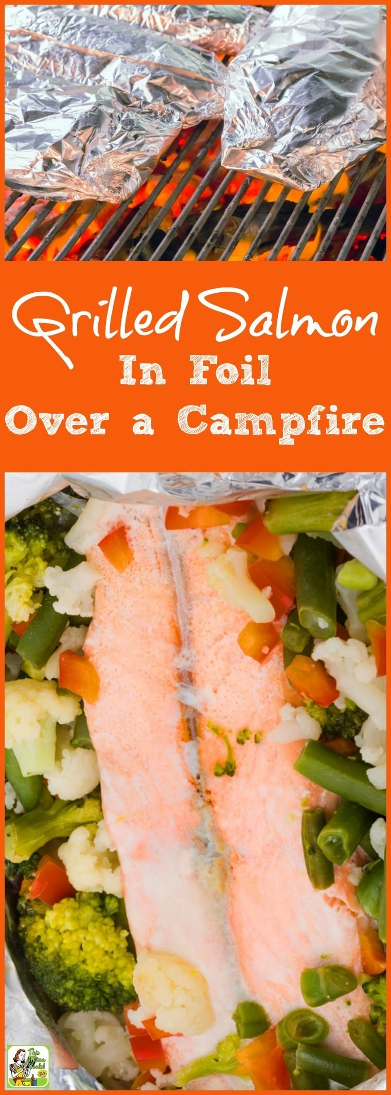 It's so easy to make this Grilled Salmon in Foil Over a Campfire when you're camping or on the grill during a backyard cookout party. Each packet contains enough fish and vegetables for two people. Not only is this fish grilling recipe easy but it's healthy, too!