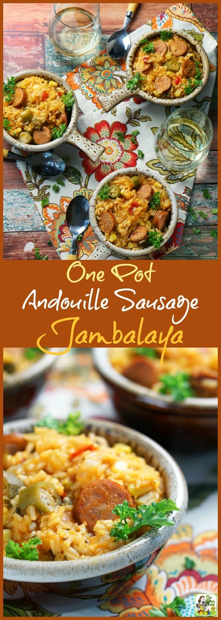 This easy One Pot Andouille Sausage Jambalaya recipe is ideal for Mardi Gras parties. Or make it when you're in the mood for a spicy one pot recipe the whole family will love. It's naturally gluten free and filled with healthy vegetables, too!