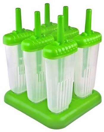 Make Healthy Coffee & Vanilla Yogurt Popsicles in Green Tovolo Groovy Ice Pop Molds!