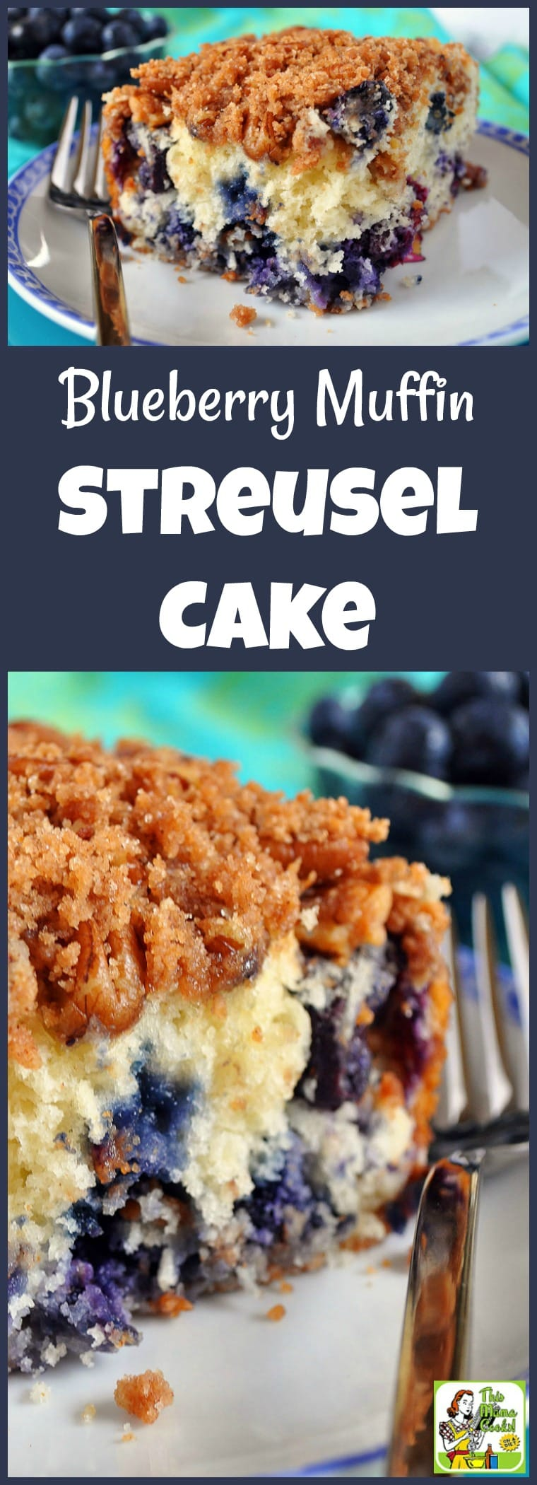 Make Blueberry Muffin Streusel Cake for brunch, a work breakfast meeting, or snack. (Recipe comes with a gluten free and sugar free option.) #recipes #recipeoftheday #healthyrecipes #easyrecipe #easyrecipe #blueberries #baking #bakingrecipes #easybaking #sugarfreerecipes #sugarfree #cake #cakerecipes #snacks #snackrecipes #diabeticrecipes #diabeticlifestyle #diabetic #diabeticliving