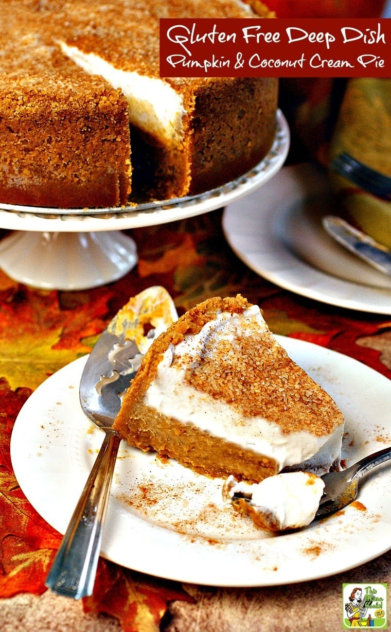 This gluten and dairy free pumpkin pie recipe is delicious and travels well to potlucks.  Make this Gluten Free Deep Dish Pumpkin & Coconut Cream Pie for Halloween, Thanksgiving or fall entertaining. Click here to get the recipe!
