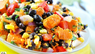 Try this Healthy Southwestern Sweet Potato Salad recipe! This cold sweet potato recipe is ideal for summer bbqs and potluck parties. Click to get this healthy and gluten free and easy to make sweet potato salad recipe!